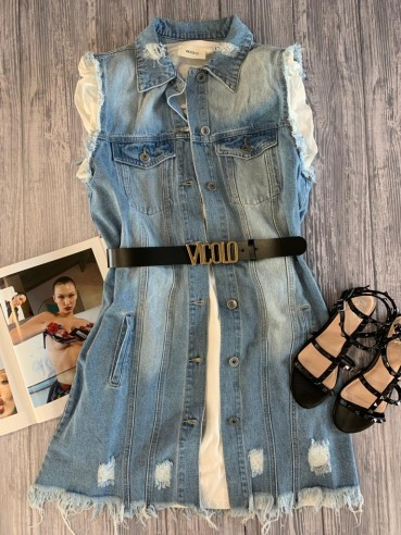 Susy Mix - Gilet lungo in denim