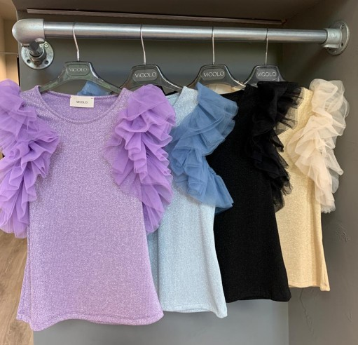 Vicolo - Top tulle in lurex