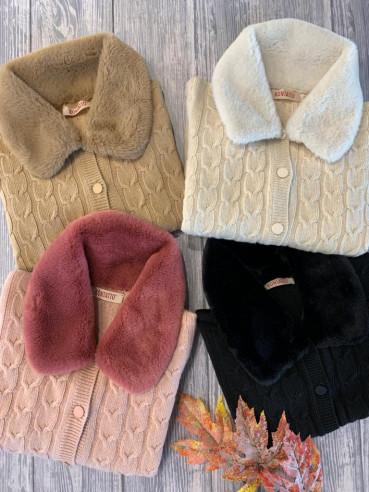 Kontatto - Cardigan collo pelliccia